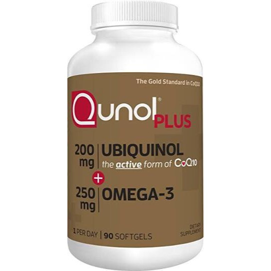 Qunol Plus Extra strength Ubiquinol 200 mg+Omega3 250 mg  90 เม็ด